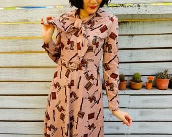 Vintage Dress, 1980s Dress, Vintage Japanese Dress, Summer Dress, Boho Dress, 80s Dress, 40s woman Dress, Floral Dress, Clutch Dress