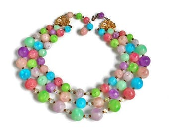 Vintage Bead Necklace Triple Strand Multi Color, Lime Green Turquoise Blue Pink Purple Round and Sparkle Beads, Colorful Necklace