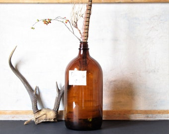 Vintage bottle, amber glass, minimalist decor, industrial decor