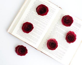 Set of 6 Stemless Book Page Roses in Your Choice of Color - Wedding Table Centerpiece Decorations - Harry Potter, Pride & Prejudice and more