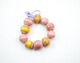 10 Handcrafted Ceramic Beads - Pastel - Unique Assortment - Earthy - Striped- Handmade - Round- Pottery beads - Brownstone - Bead Set Y453