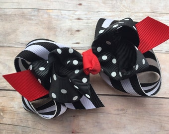 Black, white & red double boutique bow - black boutique bow, 4 inch bows, boutique bows, girls hair bows, girls bows, toddler bows