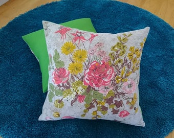 Pretty posey vintage barkcloth cushion cover