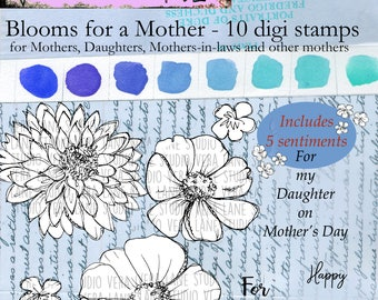 Blooms for a Mother - 10 digi stamps