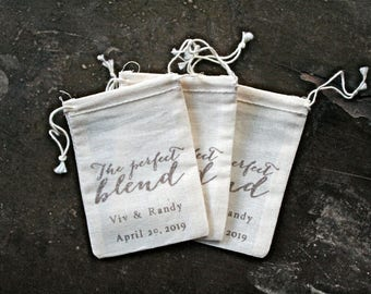 Personalized coffee wedding favor bags, muslin, 2x4. Set of 25. Hand stamped. Modern script Perfect Blend design in brown.