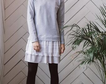 jersgey dress, sweater dress, comfy dress, grey dress, lace detail, long sleeve dress, everyday dress, jumper dress, dress, short dress