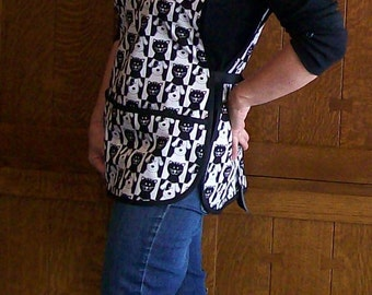 Cobbler Apron - Black and White Cats and Dogs Apron - One Size