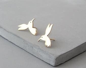 Hummingbird Earrings - Hummingbird Jewelry - Gold Stud Earrings - Silver Stud Earrings - Bird Earrings - Hummingbird Gift - Cute Earrings