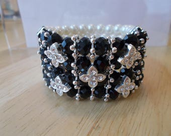 4 Row Stretch Cuff White Pearl Bracelet with Black Crystal and Clear Rhinestones and Silver Tone Daisy Bead Spacers