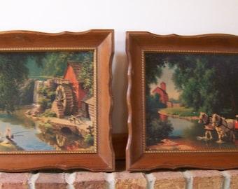 Vintage Turner Wall Pictures (set of 2) Turner Wall Hangings.Vintage Framed Pictures.Landscape Wall Art.Boys Room Decor.Retro Decor.