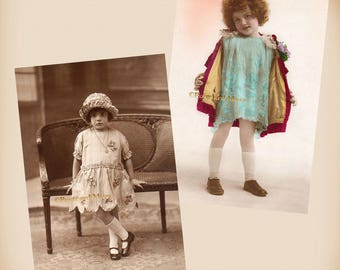 Art Deco Girl - 2 New 4x6 Vintage Postcard Image Photo Prints - CE032 CD004