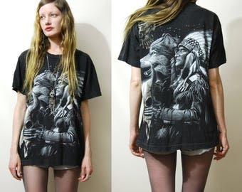 90s Vintage WOLF EAGLE Tshirt Native American Faded Black Soft Cotton Shirt Print Motif Top Grunge Bohemian 1990s vtg Unisex