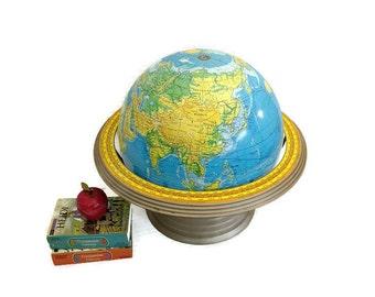 Vintage World Globe -16 Inch - Extra Large School Globe - Terrestrial - George F Cram - Globe with Base - Table Globe - Metal Base - 1985