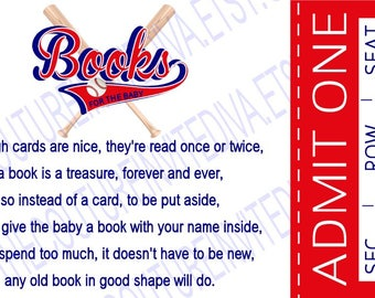 Little All Star Books for Baby, Baseball Ticket Book Request, Book Request, Stock Baby's Library Card