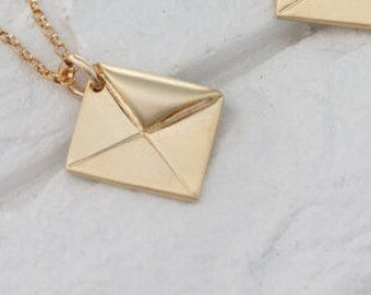 Gold Envelope Necklace - envelope charm . Envelope Pendant Necklace, One necklace listing, envelope jewelry,. silver envelope.