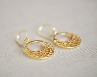 Gold Earrings - Gold Filigree Earrings - Gold Dangle Earrings - gift for women
