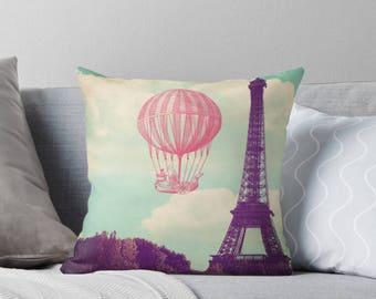 Paris pillow, Eiffel Tower pillow, nursery pillow, French decor, home decor, gift for her, baby shower gift, hot air balloon pillow