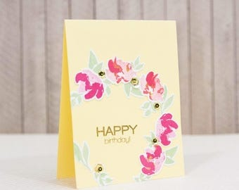 Handcrafted Birthday card with pink watercolor-style flower wreath