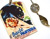 Mini Bookmark with bronze Pendant - Vintage Movie Poster - Cat People - Handmade