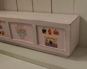 Shabby cottage chic Paris handmade wood patisserie display table with bakery and cupcakes decals -miniature dollhouse12th - empty furniture