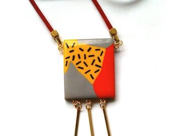 Geometric Tassel Necklace Statement Bib Necklace Abstract Boho Memphis Grey Mustard Red  FREE UK Shipping