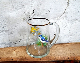Songbird Pitcher West Virginia Glass  Goldfinch Bluejay. Gold Band Ice Lip Heavy Base,