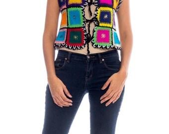 1970s Colorful Patchwork Vest Size: S