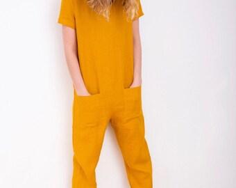 Mustard Linen Jumpsuit - Short Sleeve Jumpsuit - Women Overall - Linen Overall - Linen Romper - Handmade by OFFON