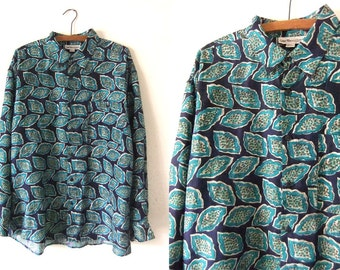 Pastel Goth Minimal Patterned Silk Shirt - Leaf Print Abstract Silk 90s Vaporwave Hip Hop Long Sleeve Button Down - Mens Large
