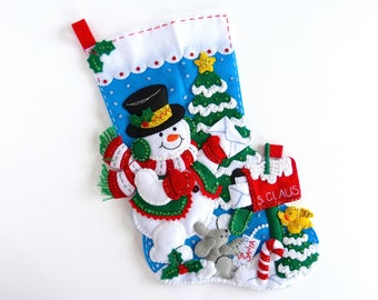 Christmas Stocking Bucilla Finished Stocking Personalized Family Stocking Felt Christmas Stocking Snowman Mail Stocking Gift for Him Her