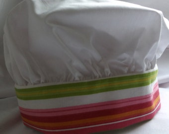 Child's Chef's Hat in White Kona Fabric Band in Shades of Pink and Green, Yellow and White Measures 25-1/2 Inches Long LH Beach Umbrella