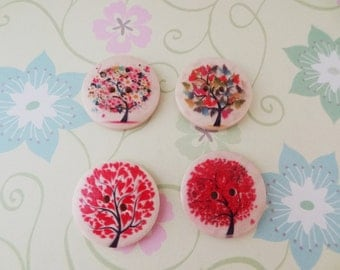 4 pcs - Natural Wood Red Tree Sewing Buttons Scrapbooking 2 Holes Round, 1.18 inch - Ready to Ship