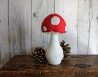 Tiny Toadstool - handcut fun fungus in red and white