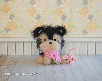 yorkie puppy, kawaii amigurumi dog, crochet fuzzy cream black yorkshire, mini pink mouse