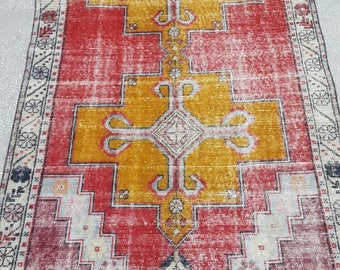 Vintage Oushak Rug / 4 by 8 / Muted / Pastel / Red-Mustard / Boho / Low-Pile / Distressed Rug - 101 in x 50 in