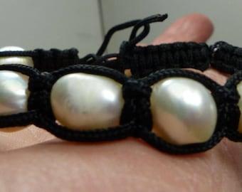 Keshi  Pearl Bracelet-Genuine Keshi Pearls- 18 grms- bracelet adjusts-10X10mm pearls- 1754