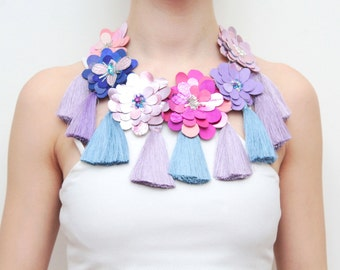 PASTEL LOVE /Leather statement necklace- one of a kind piece-flower necklace-tassel jewelry-pink blue purple-Natural leather necklace -