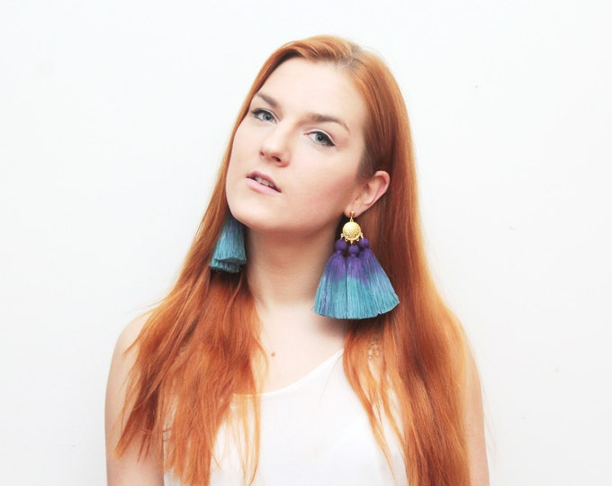 MAGIC 50 / Oversized earrings-large statement jewelry-tie dyed-hand colored bohemian earrings-fringe jewelry-blue earrings- Ready to Ship