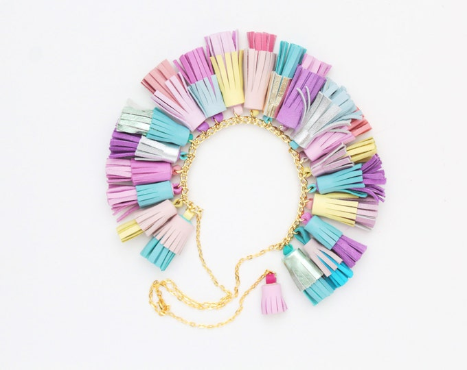 BOUQUET 1 / Mixed color natural leather tassel statement everyday necklace in pastel shades -mixed colors-tassel necklace- Ready to Ship