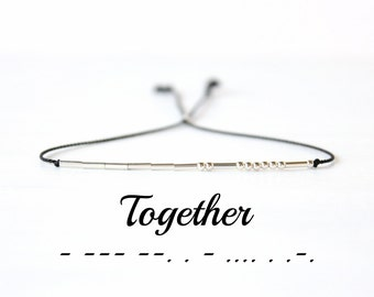 Together Morse Code Bracelet Dainty Silk Cord Beaded Bracelet Minimalist Best Friend Jewelry Sterling Silver Love Bracelet