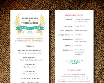Wedding Programs Botanical Wedding Program - Printable Wedding Program Ceremony Cards Custom Wedding Program