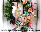 READY TO SHIP! Easter Wreath - Burlap Wreath - Happy Easter - Spring Wreath - Deco Mesh Wreath - Spring Mesh - Grapevine Bunny