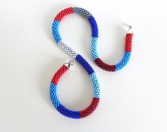 Navy Necklace // Long Rope Necklace //Red and Blue Sailor Jewelry // Statement Necklace // Beaded necklace // Simply Stripes Collection
