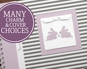 TWIN Pregnancy Journal | Pregnancy Gift for Twins | Personalized Pregnancy Scrapbook for Twins | Gray & White Stripes + Lavender and Bunnies