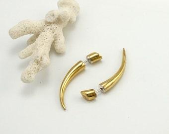 FAKE GAUGE earrings  - cheaters - talon earrings -  Brass with silver ear-wire for standard piercings - small