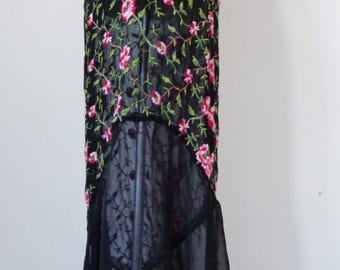 Vtg 30s does 90s Cynthia Rowley FLORAL Embroidered Sheer GYPSY Dress, Small to Medium