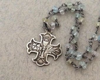 French Antique Silver Holy Eucharist Communion Medal Necklace, Aquamarine Gemstone Chain