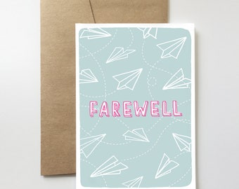 Farewell Card | Goodbye. Bon Voyage. Paper Airplane. Travel. See You Later. Moving.
