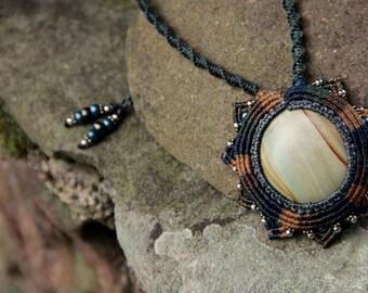 Macrame tribal boho necklace with jasper