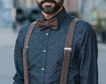 Brown Bow Tie and Suspenders, Mens Bow Tie and Matching Suspenders, Suspenders and Bow Tie Set, For Men, For Groom, Wedding Suspenders
